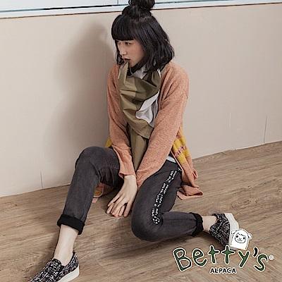 betty's貝蒂思 側邊印花腰間鬆緊窄管褲(黑色)