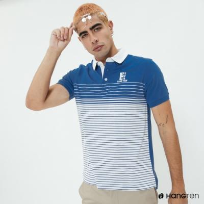 Hang Ten-男裝-條紋漸層設計POLO衫-淺藍