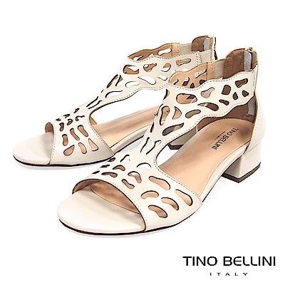 Tino Bellini 巴西進口不規則藝術鏤空低跟涼鞋 _ 米白