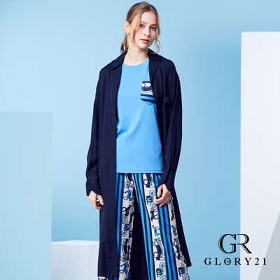 【GLORY21】oversize寬版排扣風衣-藍色