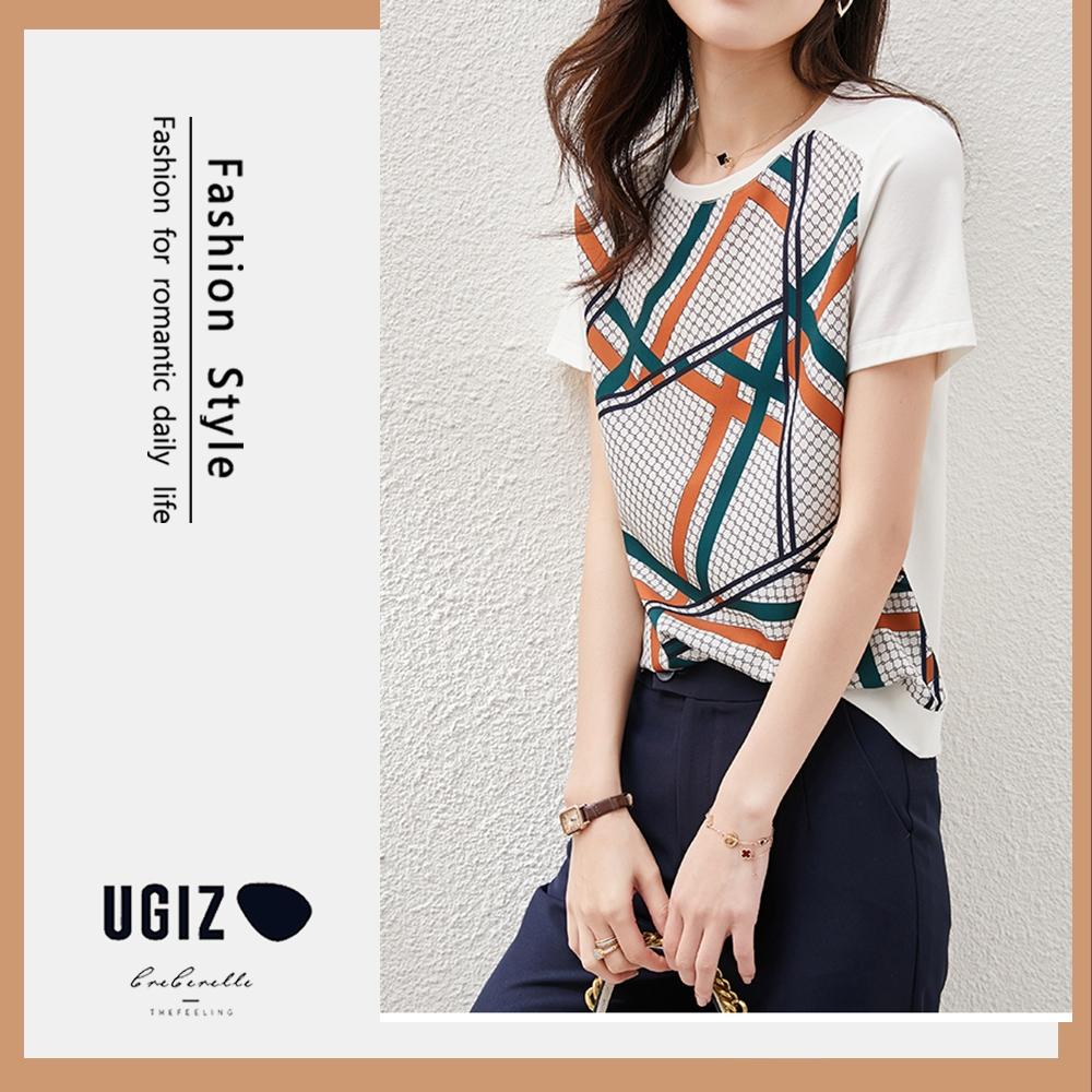 UGIZ-修身時尚彩色幾何圖案造型上衣-白色(M-XL)