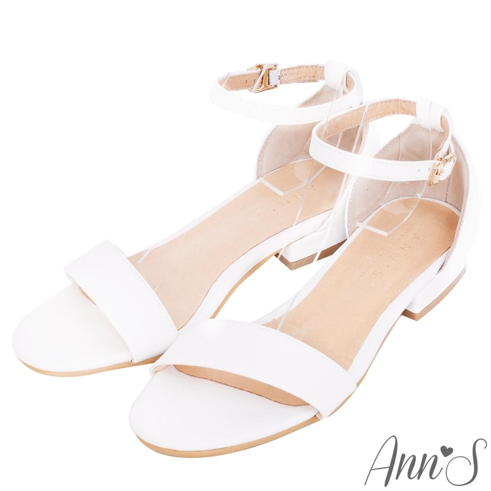 Ann'S不踩雷美腿製造機一字帶涼鞋-寬帶2公分平底-白
