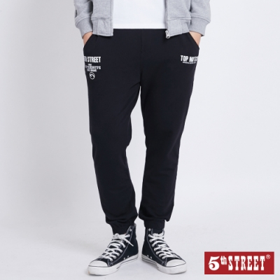 5th STREET 印花抽繩 縮口休閒褲-男-黑色