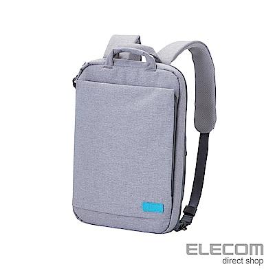 ELECOM 帆布多功能薄型後背包OF03-灰