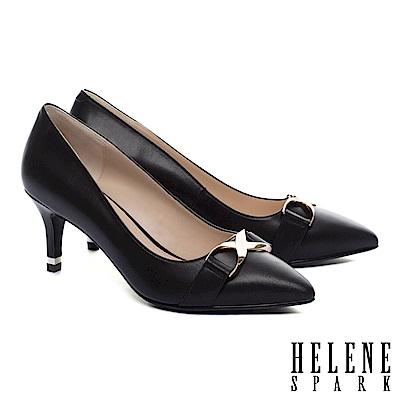 高跟鞋 HELENE SPARK 時髦個性金屬釦羊皮尖頭高跟鞋-黑