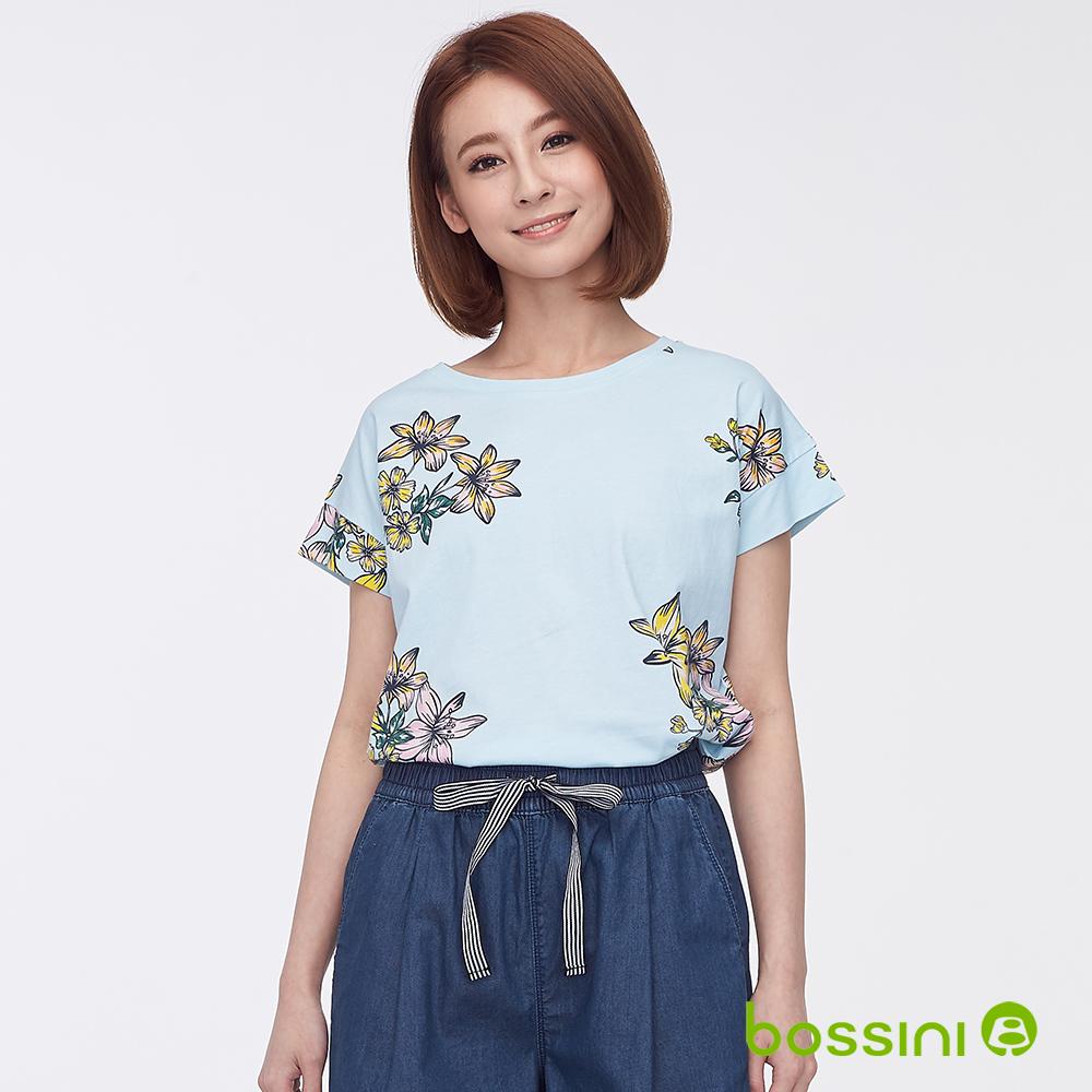 bossini女裝-圓領短袖印花上衣03湖水藍