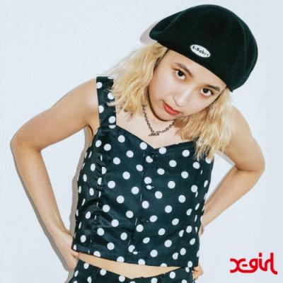 X-girl PRINTED BUSTIER細肩短版上衣-黑