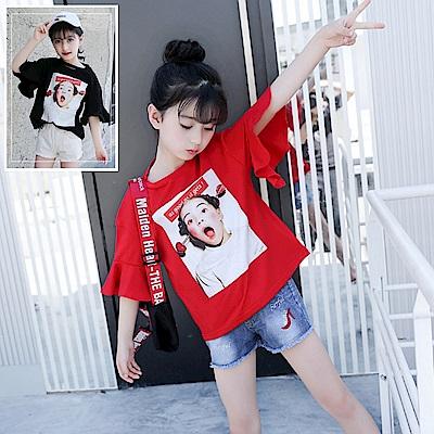 小衣衫童裝    中大童女孩海報印花喇叭袖上衣1070612