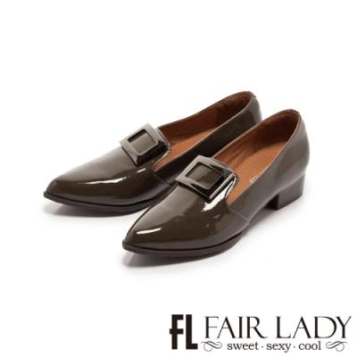 Fair Lady 歐美尖頭方釦漆皮低跟樂福鞋 灰