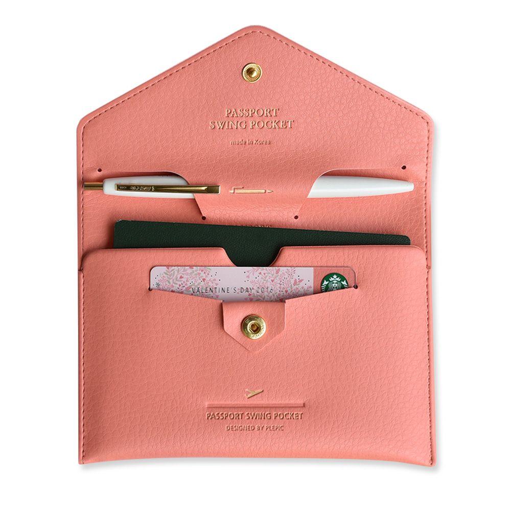 PLEPIC 啟程吧皮革護照包-珊瑚粉