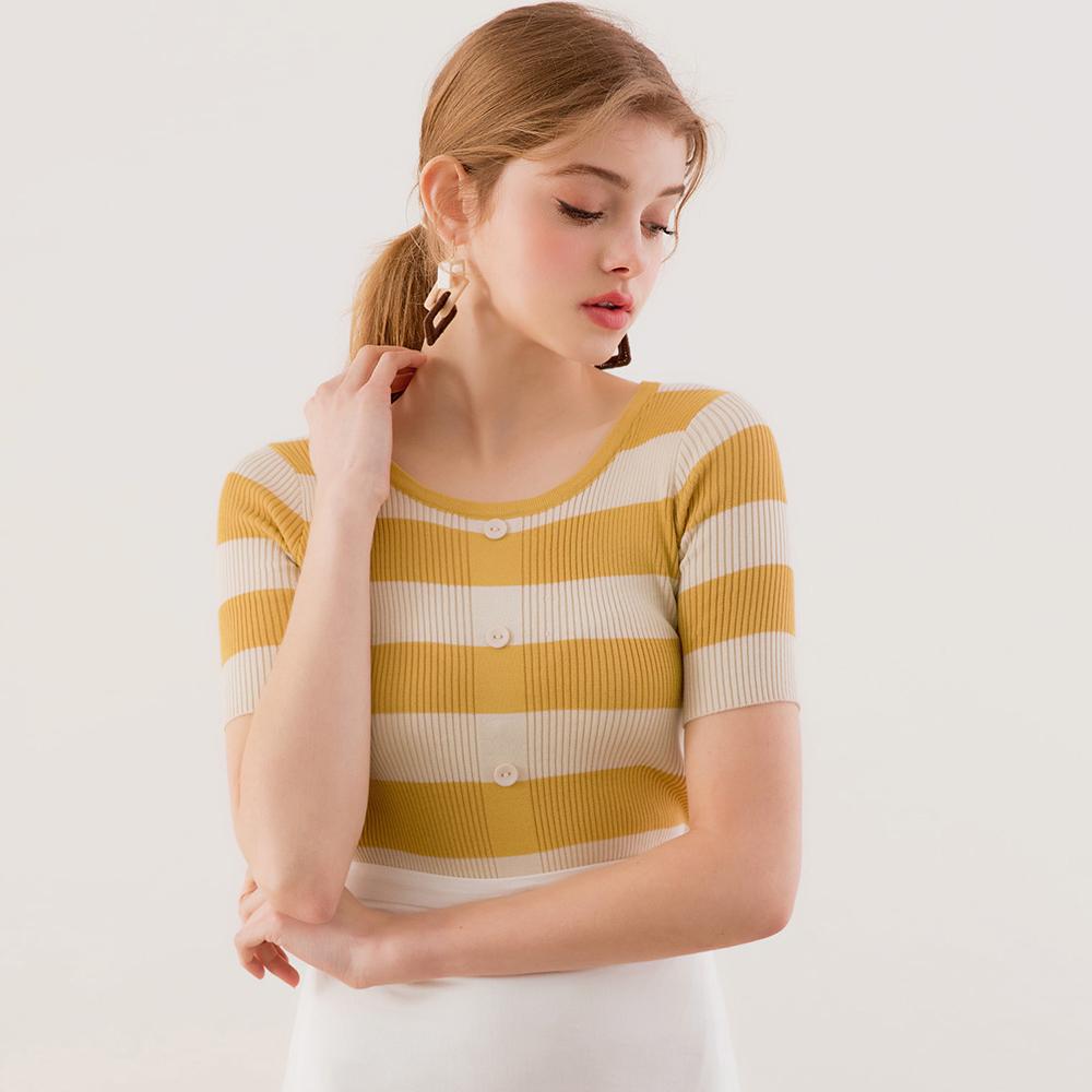 AIR SPACE LADY 雙色橫條排釦針織上衣(黃)