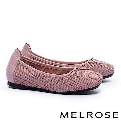 娃娃鞋 MELROSE 經典百搭素雅接蝴蝶結全真皮平底娃娃鞋-粉