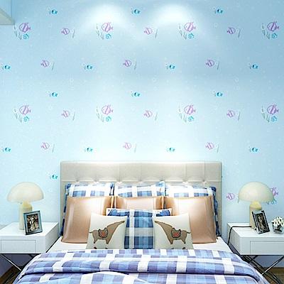 半島良品 防水PVC自黏裝飾牆紙45x200cm-藍色小魚