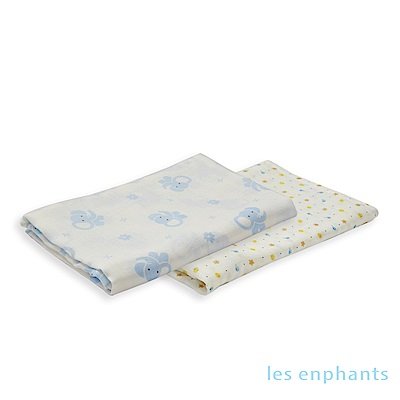 les enphants Bamboo竹纖維雙層紗方巾(二入組)(2色可選)
