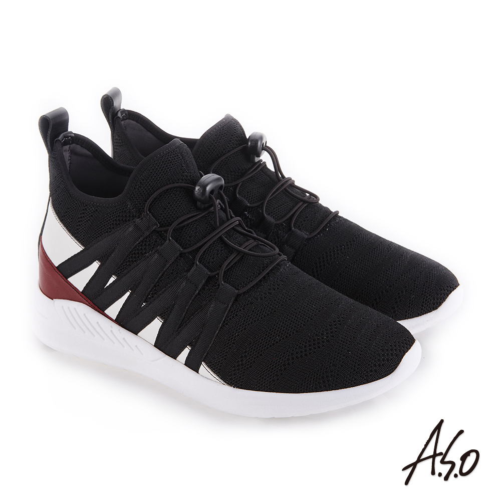 A.S.O 活力雙核心 牛皮網布透氣休閒鞋 黑