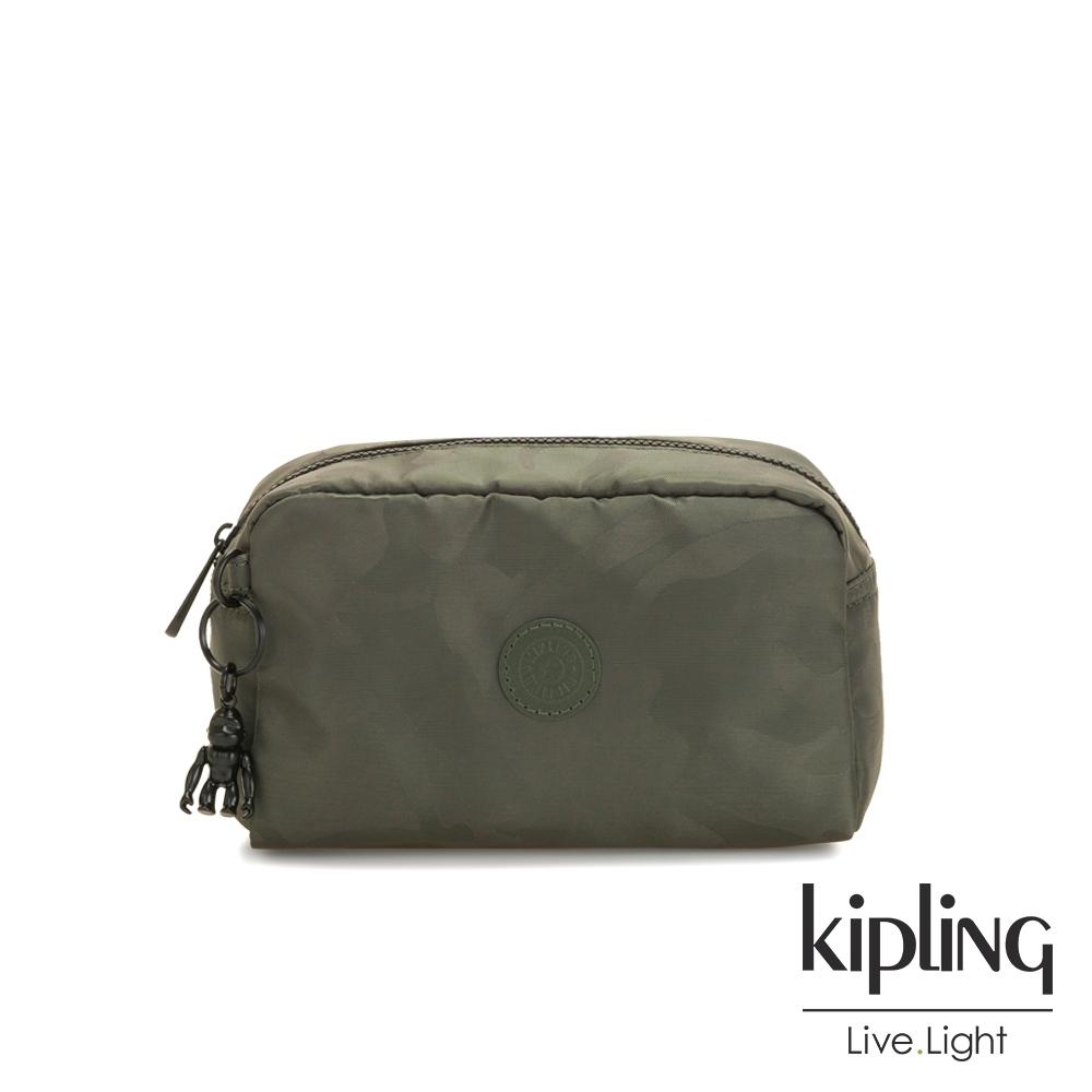 Kipling 迷彩緞灰長形化妝包-GLEAM