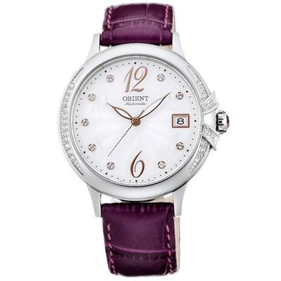 ORIENT東方ELEGANT璀璨之星晶鑽機械手錶-白X紫帶/38mm