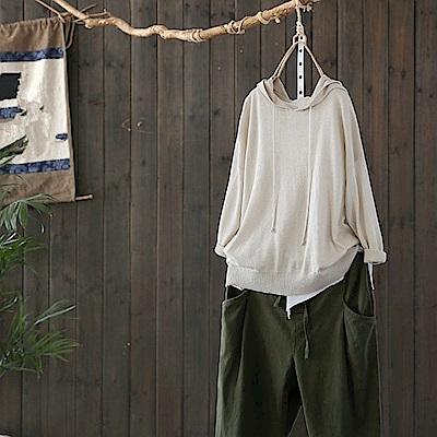 輕薄透氣亮銀絲連帽針織衫上衣-Y4798-設計所在