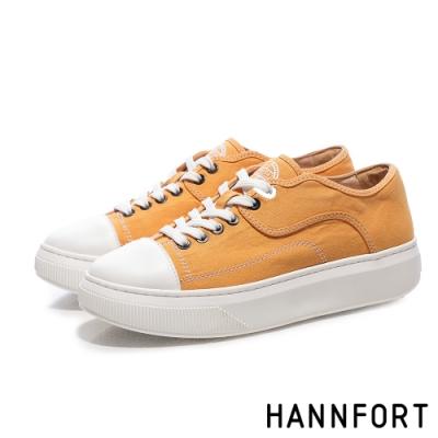 HANNFORT CAMPUS PLATFORM帆布厚底休閒鞋-女-黃(8H)