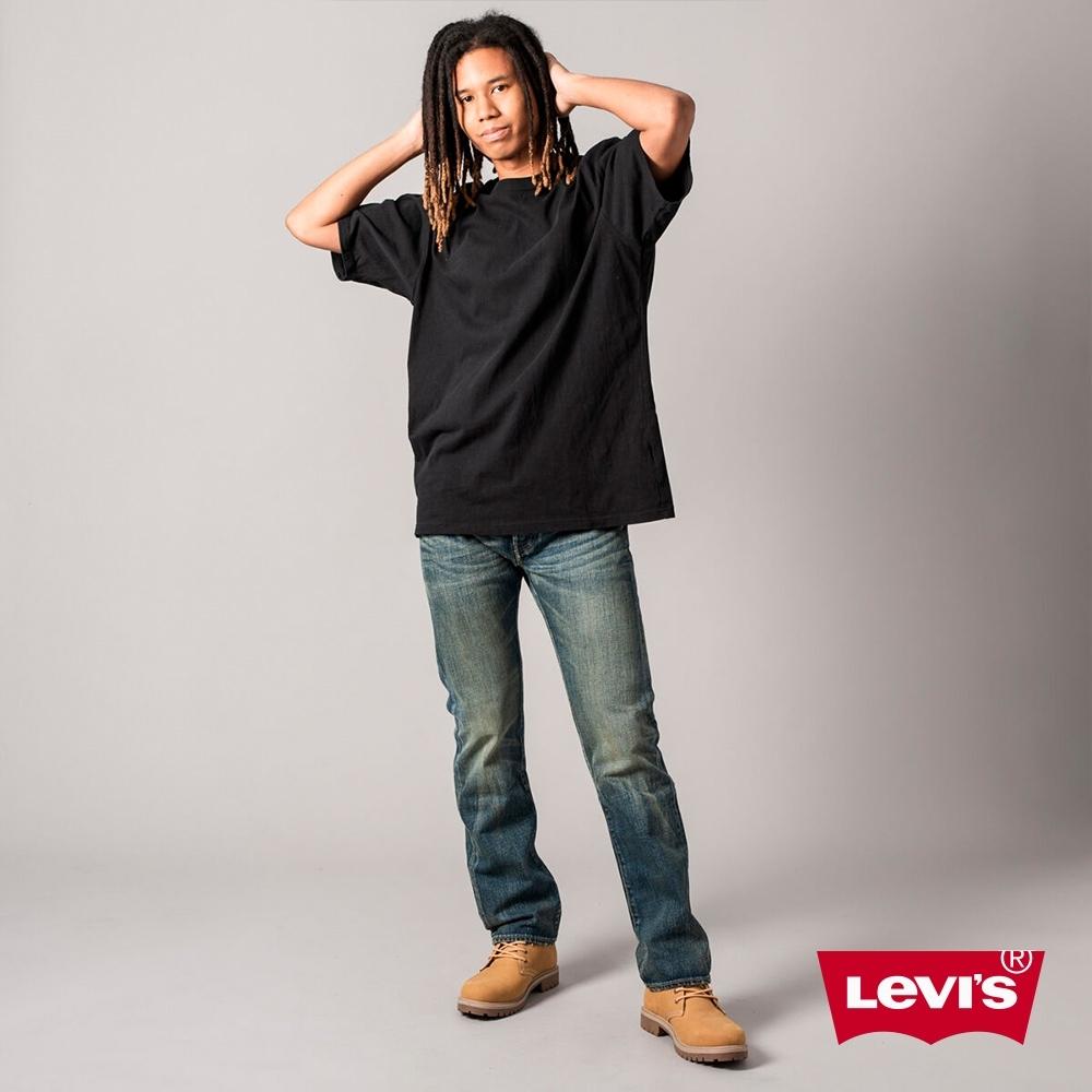 Levis 男款 501排釦直筒牛仔褲 作舊刷黃工藝
