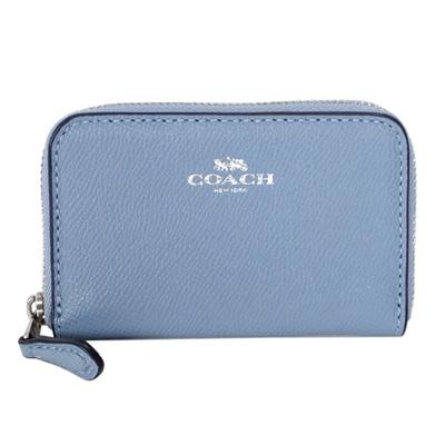 COACH水藍防刮全皮雙層拉鍊卡夾零錢包