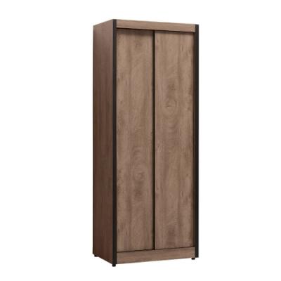 MUNA 凱達灰橡色2.7尺推門衣櫥/衣櫃(單只)  80.5X54.5X202.2cm