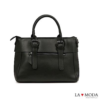 La Moda 本季熱銷多Way質感面料大容量肩背斜背醫生包(黑)
