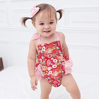 baby童衣 夏日女寶寶蕾絲綁帶露背包屁衣 60057