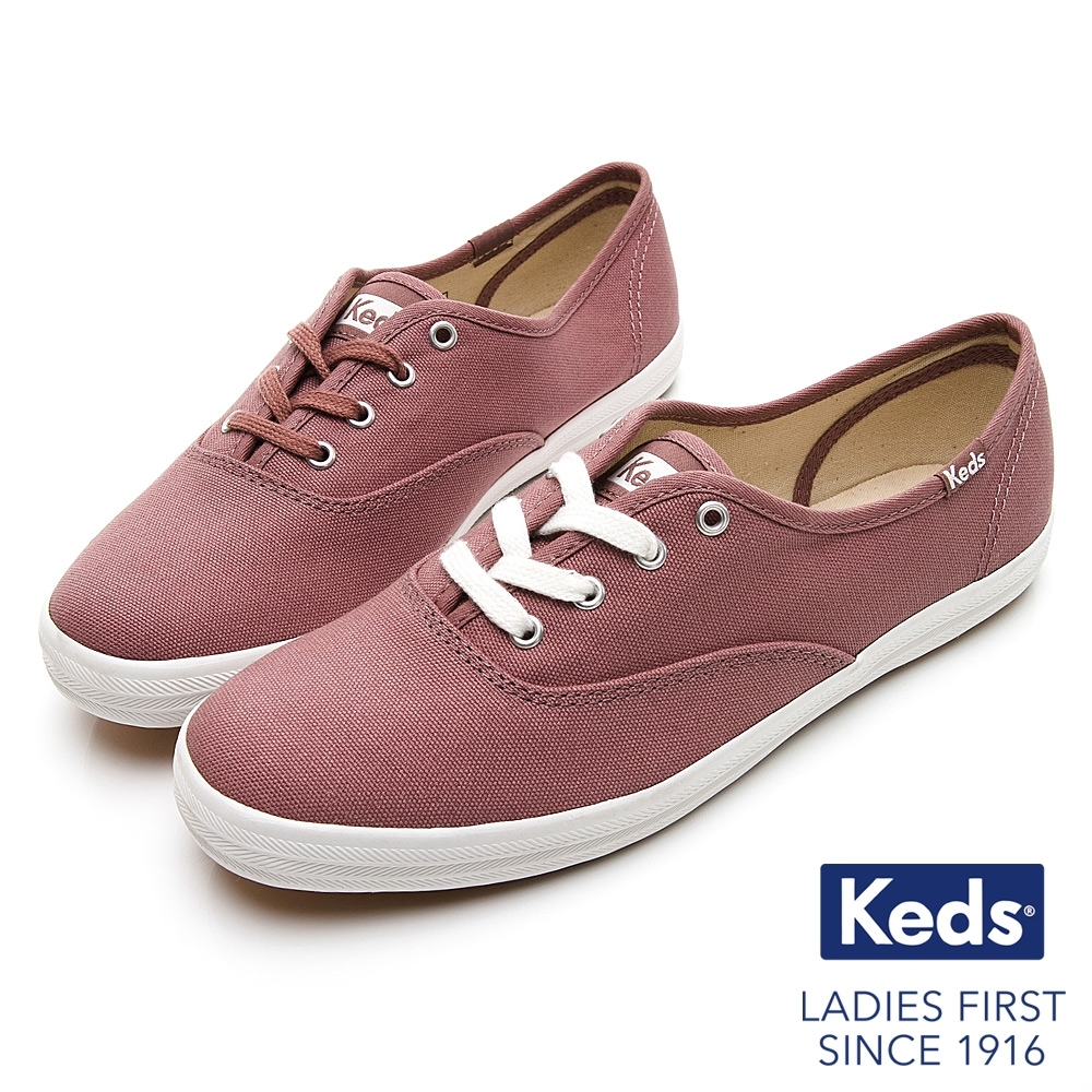 Keds CHAMPION 玩色經典綁帶休閒鞋-藕粉