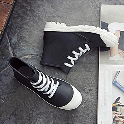 韓國KW美鞋館-街頭時尚防水輕量仿帆布長筒雨鞋 黑