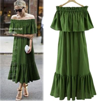 MOCO素色一字領平口露肩縮腰層次裙擺長版棉麻洋裝L~3XL