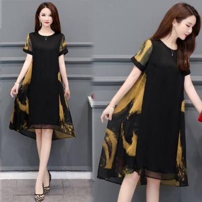 【韓國K.W.】女神同款花樣年華桑蠶絲洋裝-2色