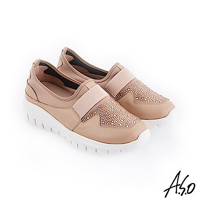A.S.O 紓壓氣墊 燙鑽萊卡布拼接休閒鞋 卡其
