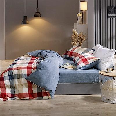 鴻宇 雙人特大床包枕套組 色織水洗棉 英格蘭 台灣製