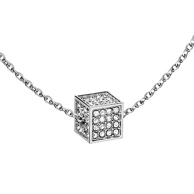 CALVIN KLEIN rocking 系列項鍊-立體方形銀色版