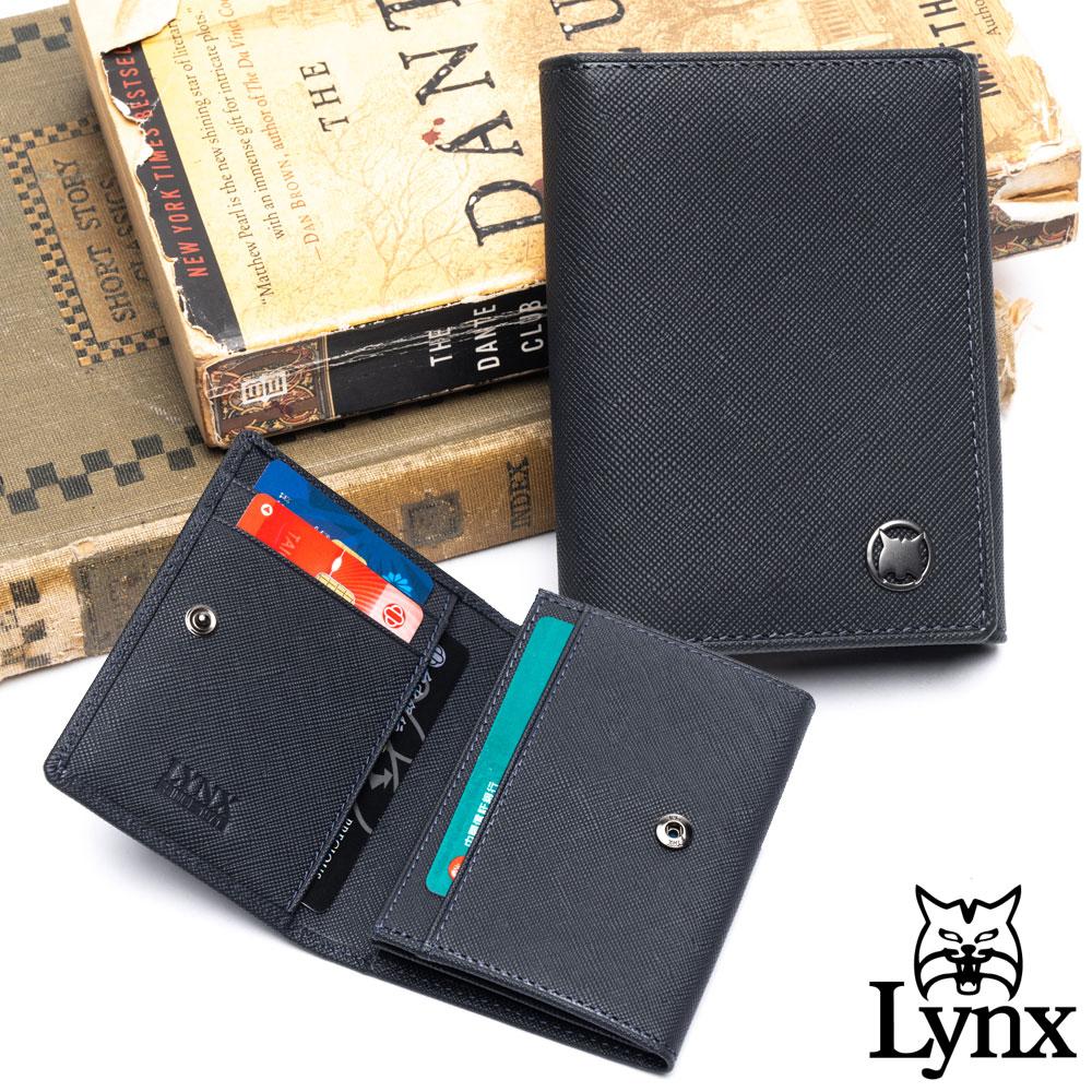 Lynx - 美國山貓藍調紳士進口牛皮系列2卡名片短夾-藍色