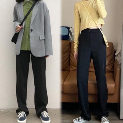 【韓國K.W.】(預購)美型通勤首選素面西裝褲-1色