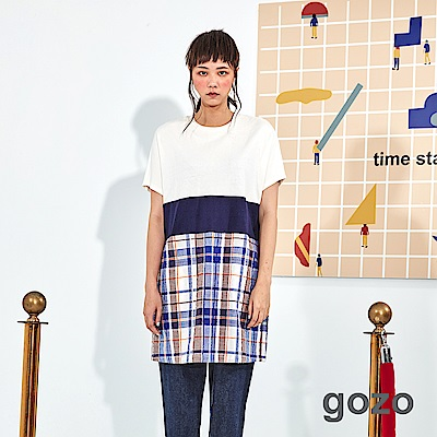 gozo 格紋拼接仿皺洋裝(二色)