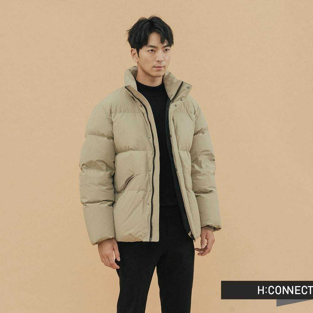 H:CONNECT 韓國品牌 男裝-立領保暖羽絨外套 - 卡其(快)