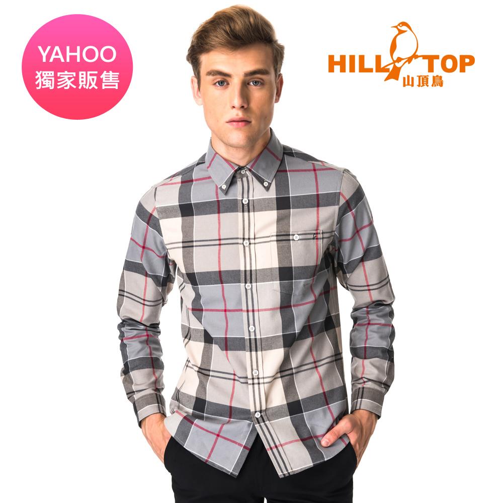 【hilltop山頂鳥】男款ThermoTech保暖長袖襯衫C05M23灰黑格紋
