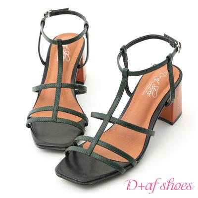 D+AF 絕美時尚.撞色細帶美形高跟涼鞋*綠