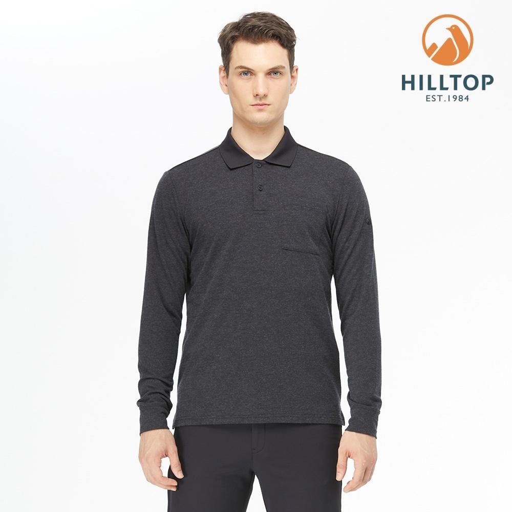 【hilltop山頂鳥】男款POLYGIENE抗菌羊毛混紡刷毛上衣H51MJ4黑美人