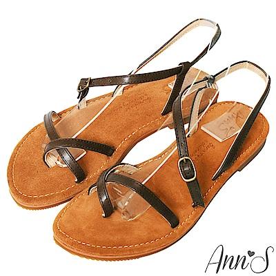 Ann'S水洗牛皮-交錯流線寬版平底涼鞋-咖