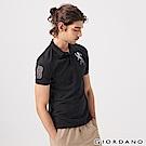 GIORDANO 男裝勝利獅王漸層刺繡彈力萊卡POLO衫-39 標誌黑