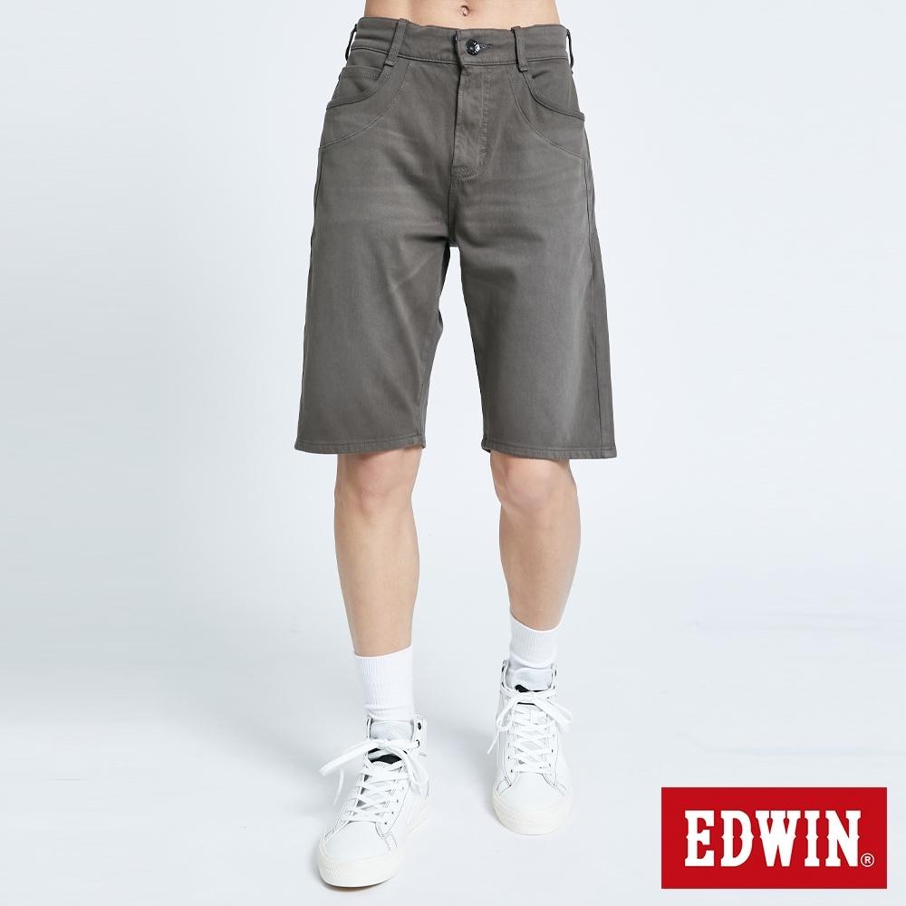 EDWIN JERSEYS 迦績 PK EJ3棉涼感寬鬆 牛仔短褲-男-中灰色