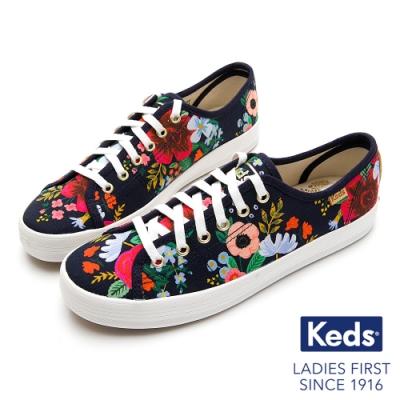 Keds Rifle Paper CHAMPION 色彩花卉鮮明綁帶帆布鞋-海軍藍