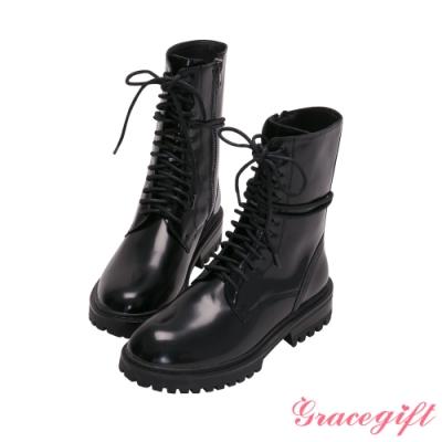 Grace gift-鋸齒厚底漆皮綁帶低跟短靴 黑