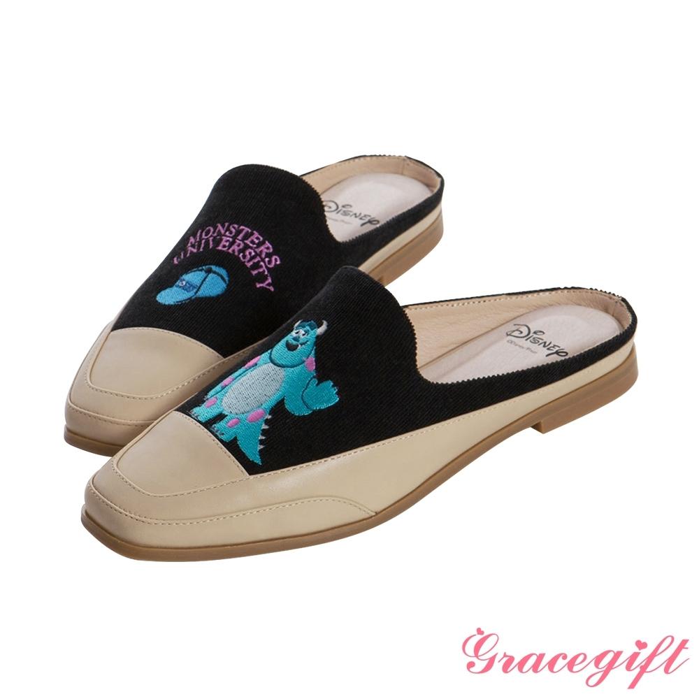 Disney collection by gracegift-怪獸大學毛怪電繡方頭穆勒鞋 杏