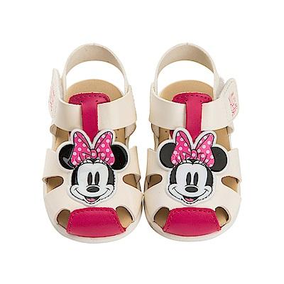迪士尼 米妮 可愛復古星星造型 職人手工涼鞋-白