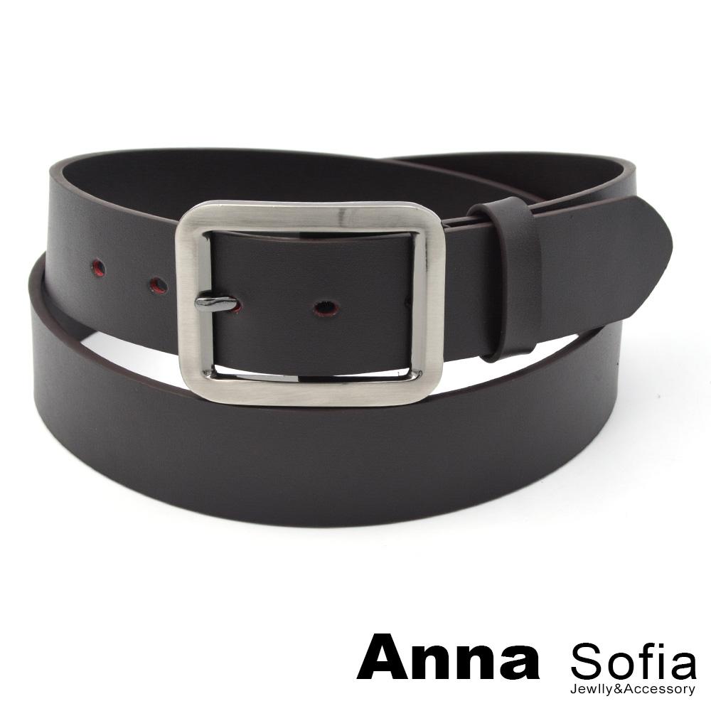 AnnaSofia 中性寬版方釦 二層牛皮腰帶皮帶(墨咖)